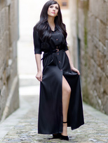 Shein Informal Long Sleeve Split Maxi Dress