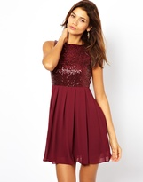 TFNC Babydoll Dress With Sequin Bodice