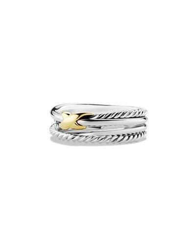 David Yurman Sterling Silver & 18K Gold X Crossover Ring