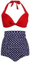 Simplicity Women's Vintage 50s High Waist Polka Swimsuit Bikini Set , M