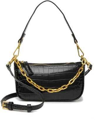 Most Wanted Design by Carlos Souza Crocodile Embossed Chain Baguette Crossbody Bag