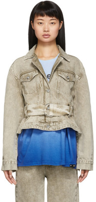 Proenza Schouler Taupe White Label Rigid Belted Jacket