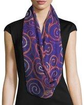 Anna Coroneo Silk Chiffon Square Spiral Swirl Scarf, Blue/Orange