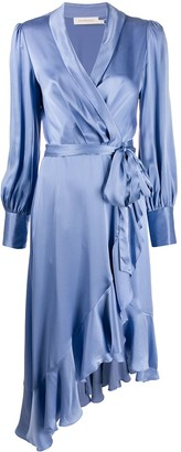 Zimmermann satin ruffle wrap dress