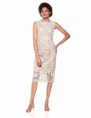 Dress the Population Women's Claudette Lace Sheath Midi Dress