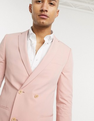 Lockstock double breasted suit jacket in dusty pink
