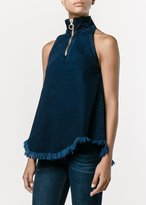 Marques Almeida Denim Sleeveless High Neck Top Indigo