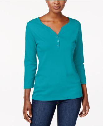 Karen Scott Cotton Henley Top, Created for Macy's