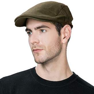 Jeff & Aimy Summer Men's 100% Cotton Flat Cap Ivy Gatsby Newsboy Driving Hunting Hat Irish Cabbie Paperboy Beret Hat Fashion Golf Hat Army Green