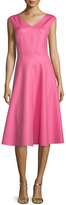 Michael Kors Cap-Sleeve Seamed Dress, Peony