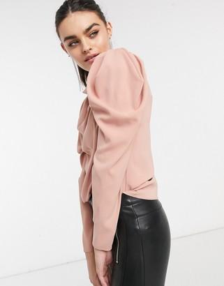 ASOS DESIGN satin drape front top in pink