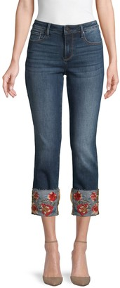 Driftwood Colette Floral Embroidery Straight Cropped Jeans
