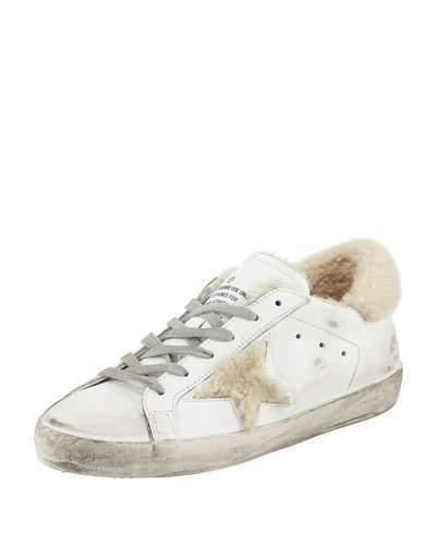 Golden Goose Superstar Leather Platform Low-Top Sneakers with Fur