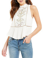 Free People Flora Embroidered Lace Crew Neck Sleeveless Peplum Top