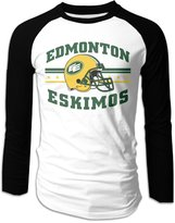 Hera-Boom Edmonton Eskimos Canadian Football Logo Long Sleeve Baseball Raglan Shirts For Men XL