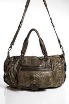 Abaco Brown Gold Tone Embossed Leather Messenger Bag