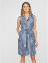 Vero Moda Sleeveless Mini Shirt Dress in Striped Organic Cotton