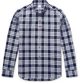 Moncler Gamme Bleu Slim-Fit Button-Down Collar Checked Cotton Oxford Shirt