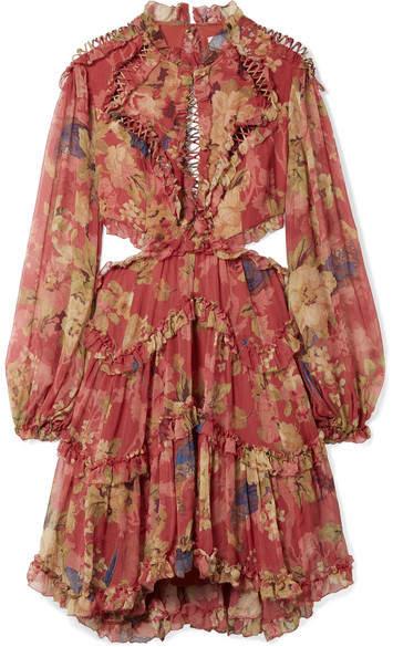 Zimmermann Melody Cutout Floral-print Silk-crepon Mini Dress - Burgundy