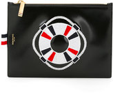 Thom Browne embroidered figure clutch bag - men - Calf Leather - One Size