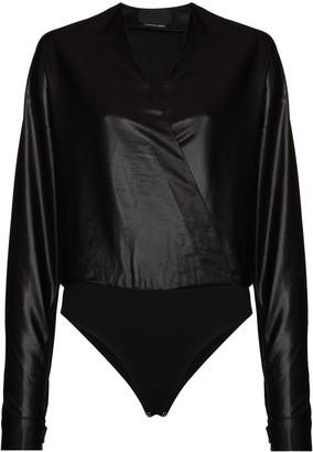 RtA faux-leather V-neck bodysuit