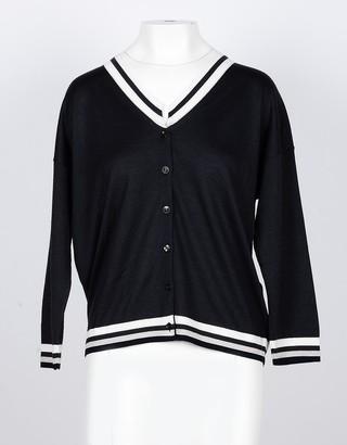 Lamberto Losani Anthracite Cashmere and Silk Women's Cardigan Sweater