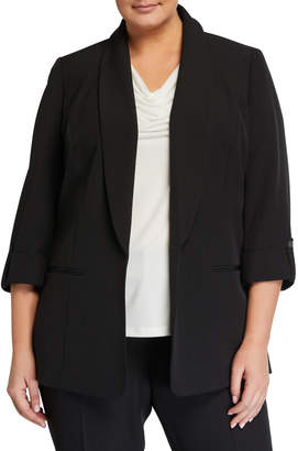 Kasper Plus Plus Size Shawl Collar Crepe Jacket