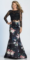 Dave and Johnny Lace and Floral Two Piece Long Sleeve Trumpet Prom Dress