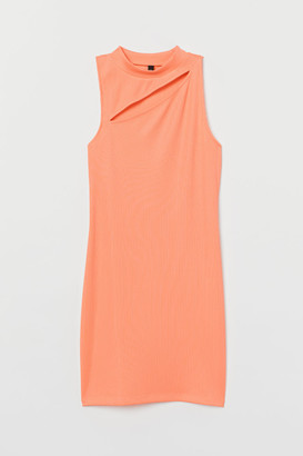 H&M Fitted Ribbed Dress - Orange