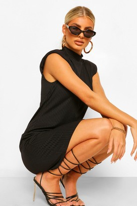 boohoo Rib Shoulder Pad High Neck Shift Dress