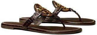 Tory Burch Miller Metal-Logo Sandal, Embossed Leather