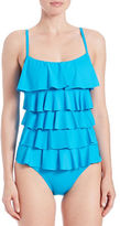 MICHAEL Michael Kors Logo Solids Ruffled One-Piece Swimsuit