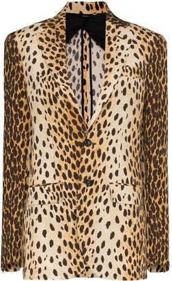 R 13 Leopard Print Blazer Jacket