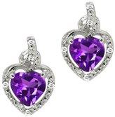 Gem Stone King 1.54 Ct Heart Shape Purple Amethyst White Topaz 14K White Gold Earrings