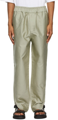 Jil Sander Green Cotton Satin Trousers