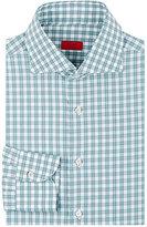 Isaia Men's Checked Poplin Shirt-GREEN