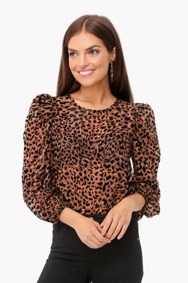 J.o.a. Brown Leopard Puff Sleeve Burnout Top