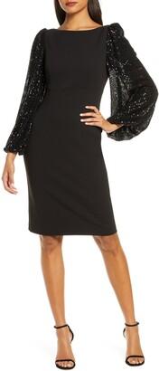 Eliza J Long Sequin Sleeve Sheath Dress