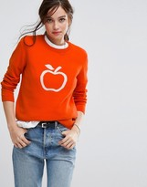 People Tree Organic Cotton Jumper With Apple Graphic