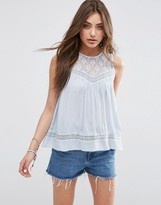 Asos Sleeveless Casual Lace Insert Tee