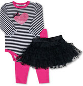 Baby Essentials Baby Girls' 3-Pc. Striped Bodysuit, Tutu & Leggings Set