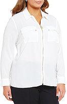 MICHAEL Michael Kors Crepe Zip-Front Top