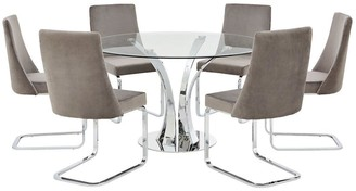 Alice 130 cm Round Dining Table + 6 Velvet Chairs - Clear/Grey