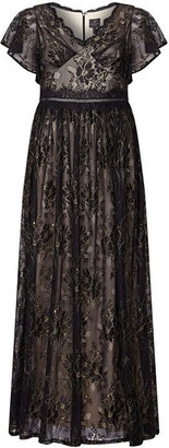 Adrianna Papell Metallic Lace Long Dress