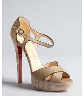 Christian Louboutin khaki leather 'Sporting' platform sandals