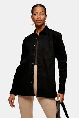 Topman Womens Black Washed Twill Shirt - Black