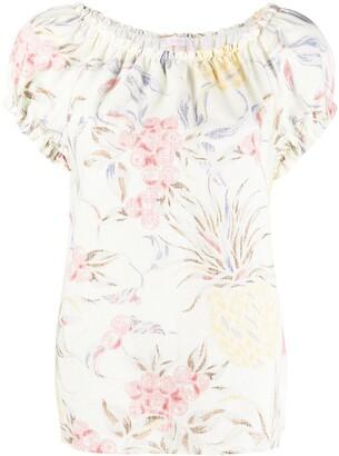 See by Chloe Floral-Print Off-Shoulder Top