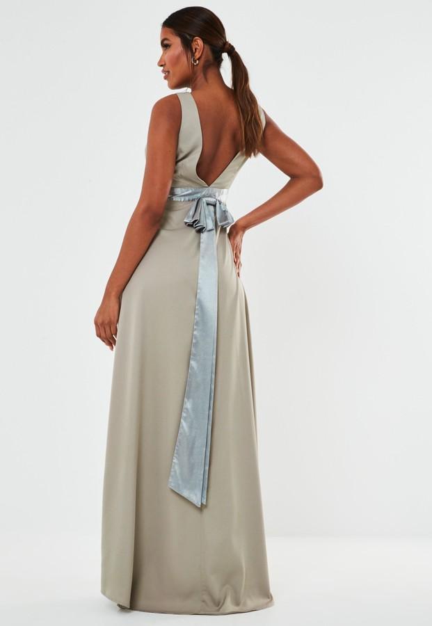 Missguided Grey Sleeveless Low Back Bow Maxi Bridesmaid Dress