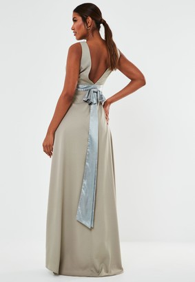 Missguided Grey Sleeveless Low Back Bow Maxi Bridesmaid Dress