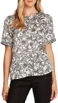 Vince Camuto Paisley Frontier Short Sleeve Satin Top